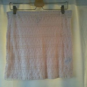 H&M Pale Pink Lace Knit Stretch Skirt,10